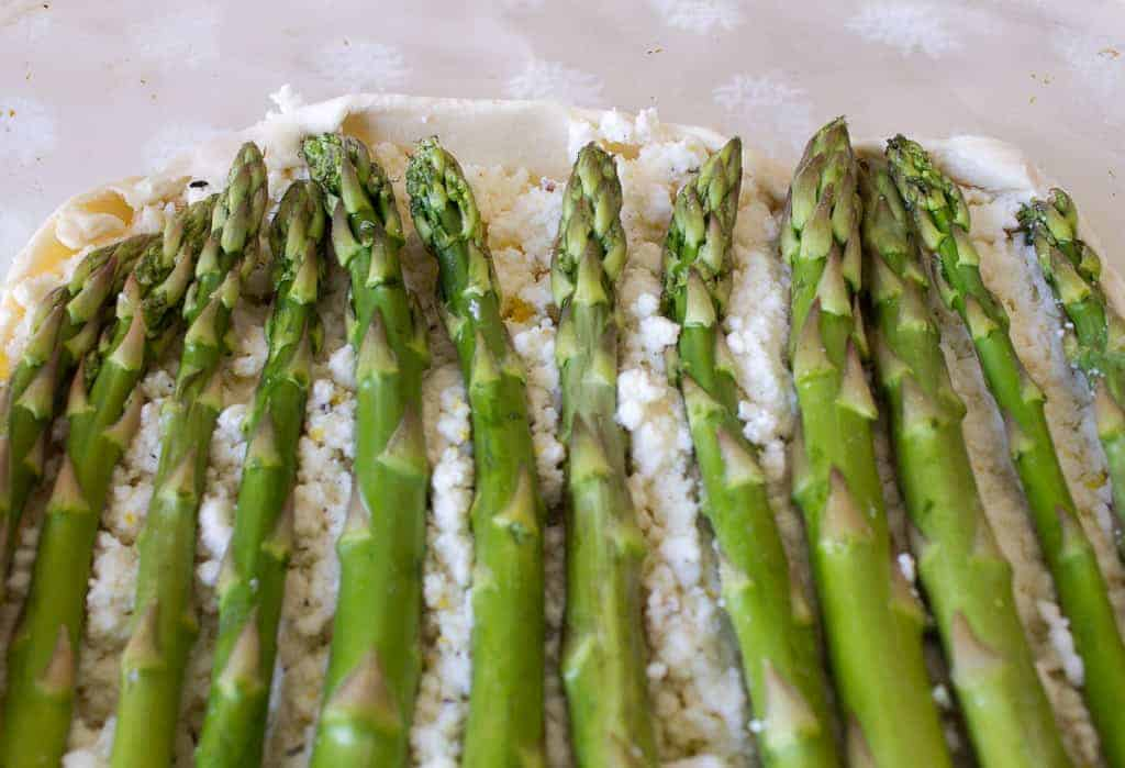 asparagus and ricotta tart ready for oven