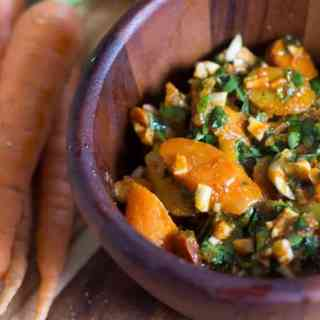 This Moroccan carrot salad is pungent and brash, with a strong marinade made up of harissa, raw garlic and cilantro that is truly unforgettable!