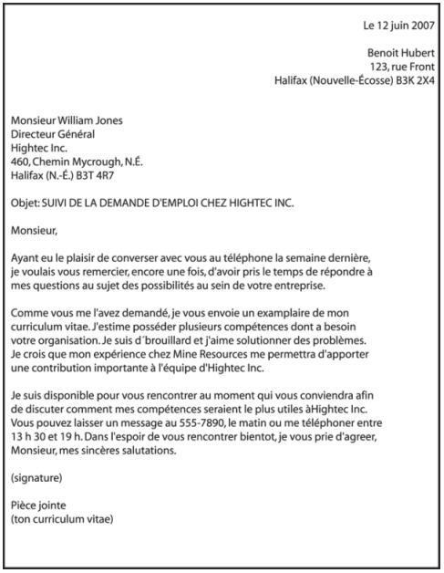 lettre d envoi de cv