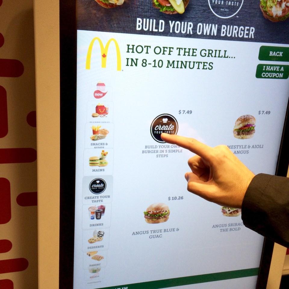 Mcdonalds Kiosk Create Your Taste electronic menu