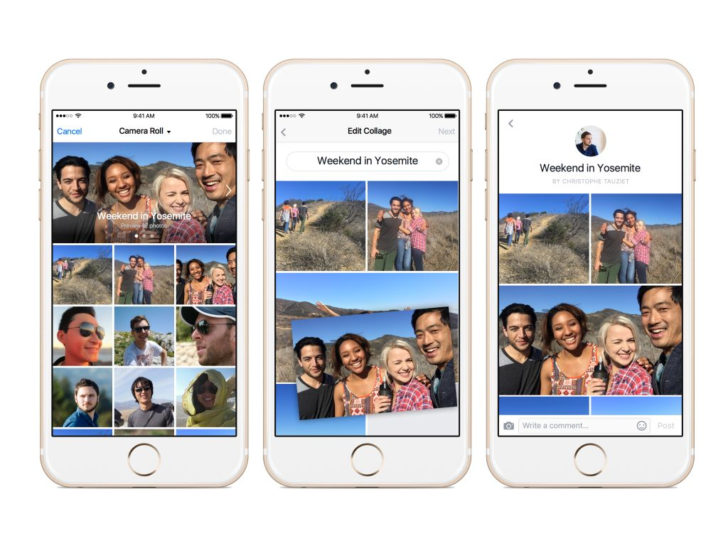 Collage Fotos Facebook Adds Photo And Video Collages To Iphone App Live Video