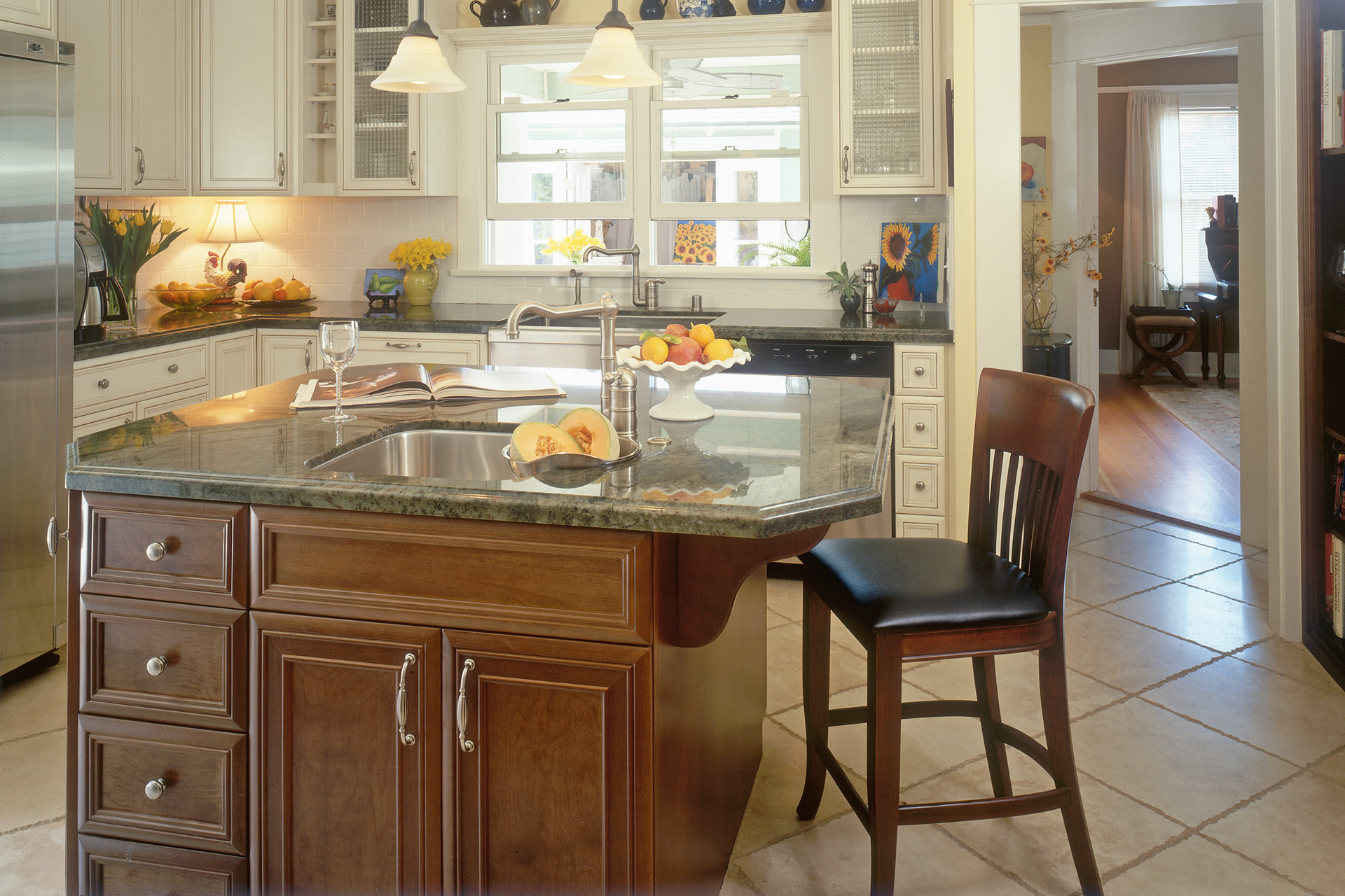 Shaker Cabinet Crown Molding Custom Contemporary Kitchen Cabinets - Alder Wood Java