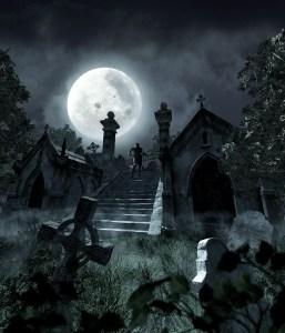 Moon-lit creepy graveyard