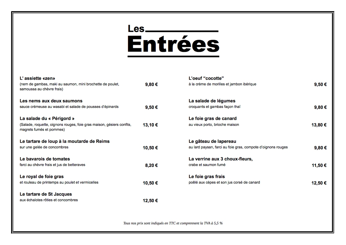 Telechargement Libre Office Gratuit Exemple De Menu Restaurant A4 Horizontal Gratuit