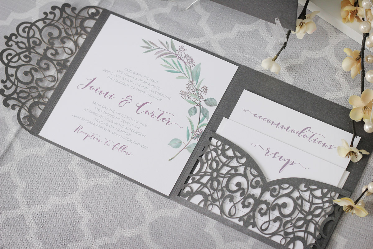 Olive Branch Tuscan Wedding Invitations With Laser Cut