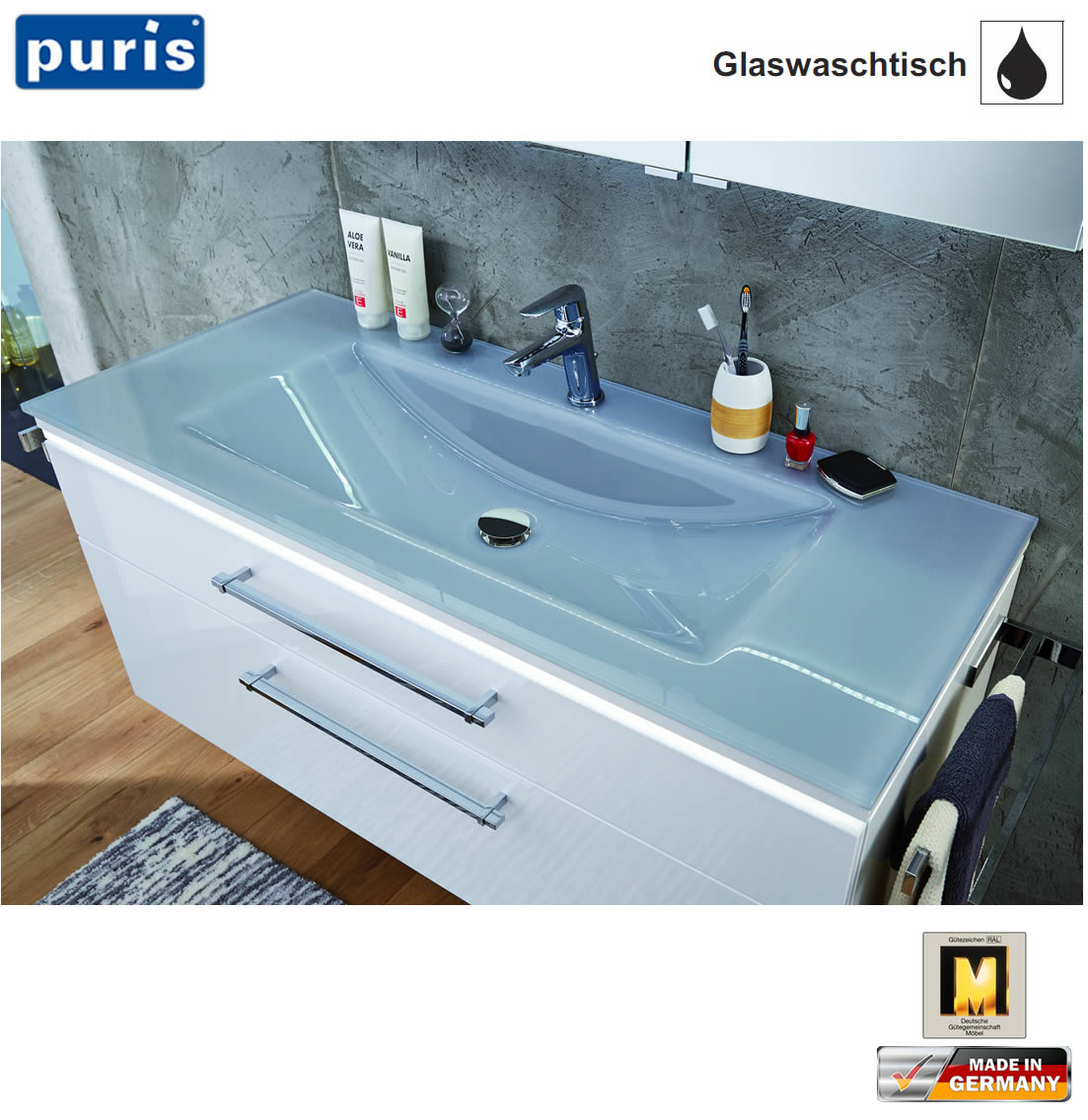 Glas Waschbecken Set Puris Cool Line Waschtisch Set 90 Cm Glas Led Optional