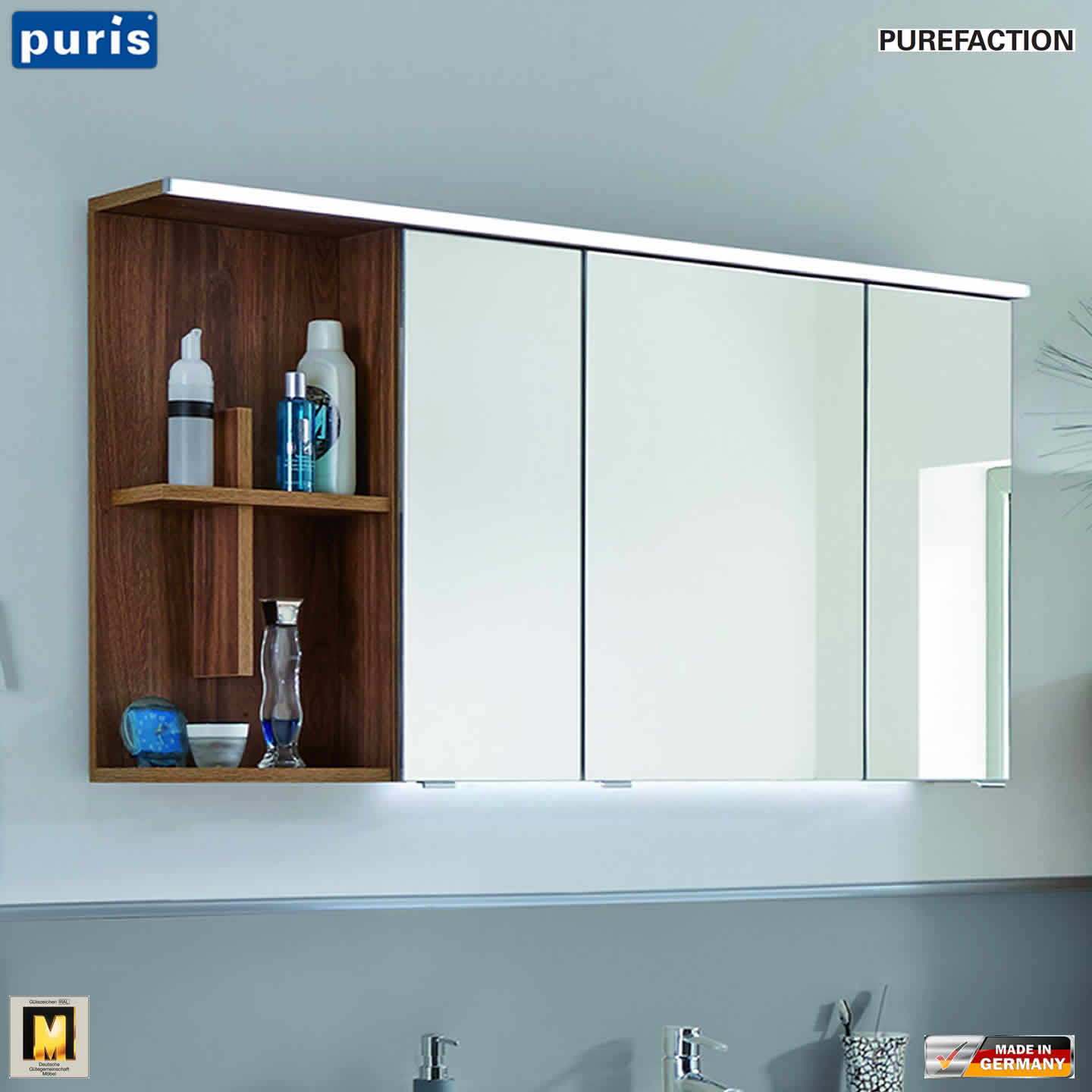 Badezimmer Spiegelschrank Mit Regal Puris Purefaction Led Spiegelschrank 120 Cm Regal Mit Kreuz Links