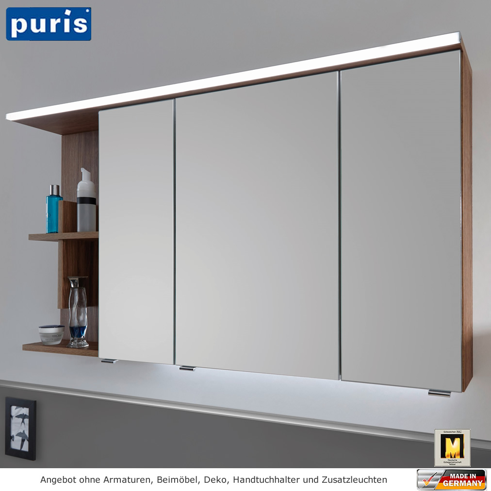 Spiegelschrank Bad 120 Cm Puris Purefaction Led Spiegelschrank 120 Cm Regal Mit Kreuz Links
