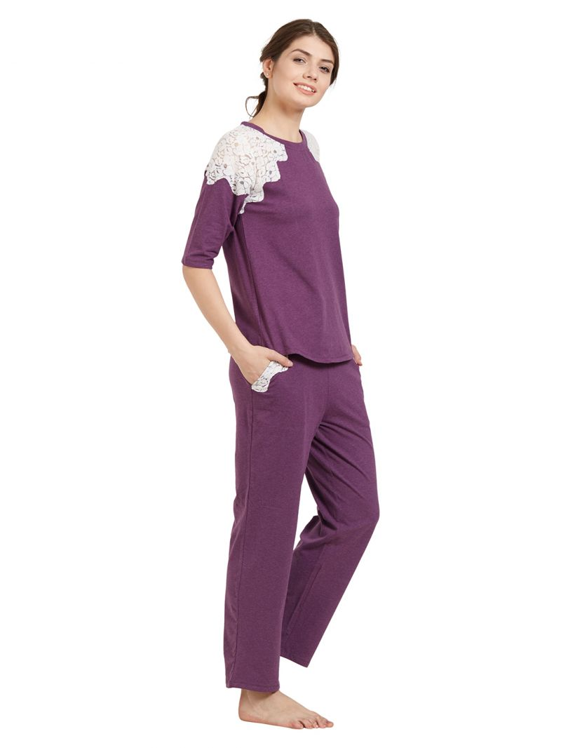 Pyjama Soie Soie Women S Crochet Lace Top And Pyjama Set