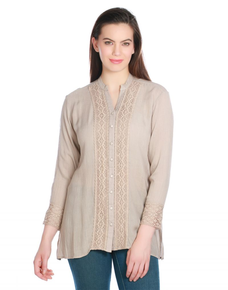 Buy Opus Brown Viscose Crepe Casual Solid Fusion Wear Women S Top Code Tp 025 Br Online Best Prices In India Rediff Shopping