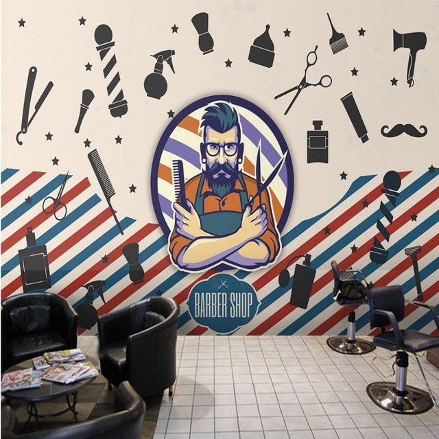 Background Gradasi Warna Coklat Dekorasi Salon Dan Barbershop Menggunakan Mural Dan Stiker