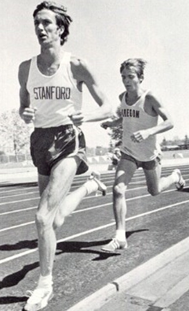 Don Kardong leading Steve Prefontaine in a 1970 race. (Courtesy of Creative Commons)