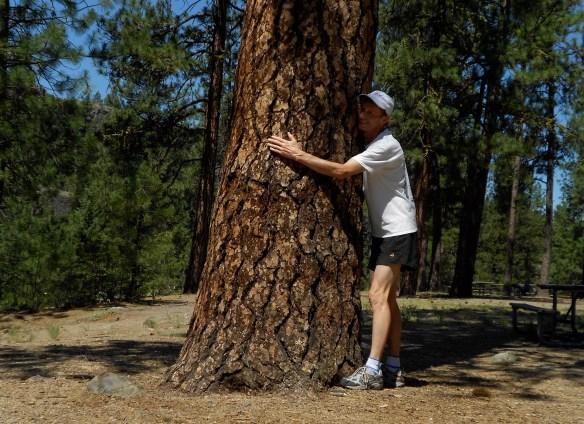 Rivr. park tree hug