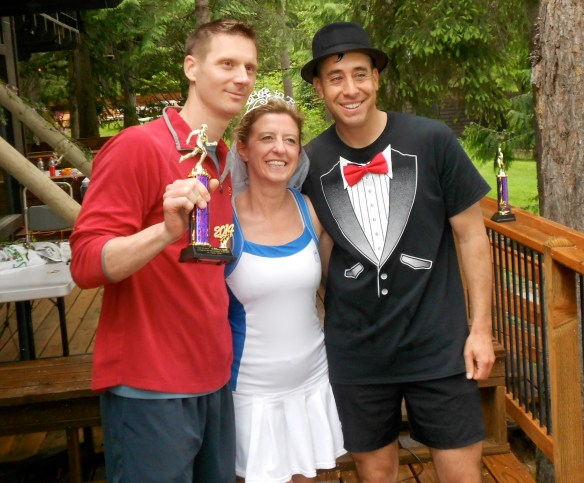 Nick Freese and Eric Cameron, the top two finishers, with Jill.
