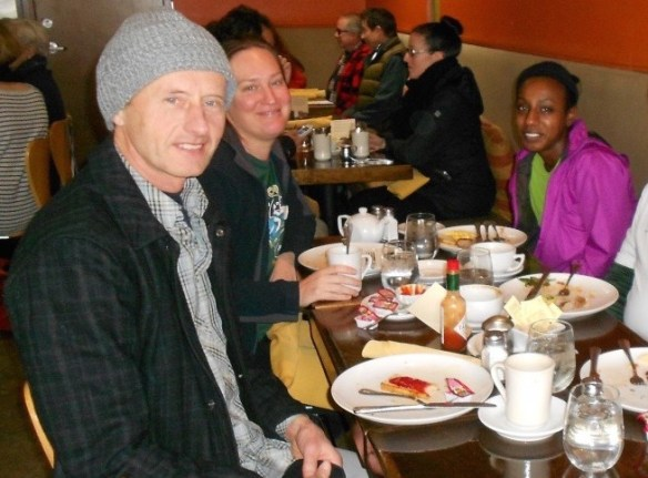 We runners often get together. Lensa, myself and others have breakfast after a very cold morning run.