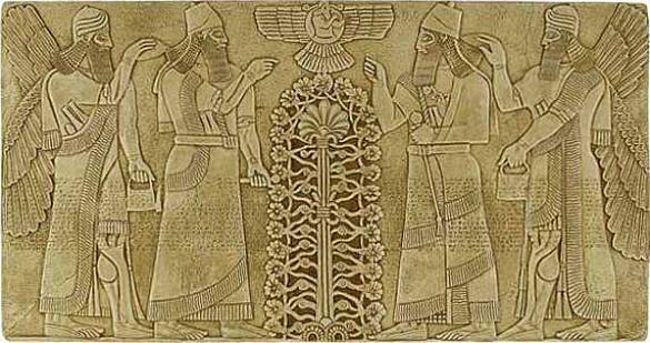 """""""Tree of Life"""", notice the symbol at the top of the tablet, an object which closely resembles the Egyptian sun-disk.  This ancient symbol has many theorized meanings, including the Sun and enlightened knowledge held and passed down by the royal lineage for millennia."""