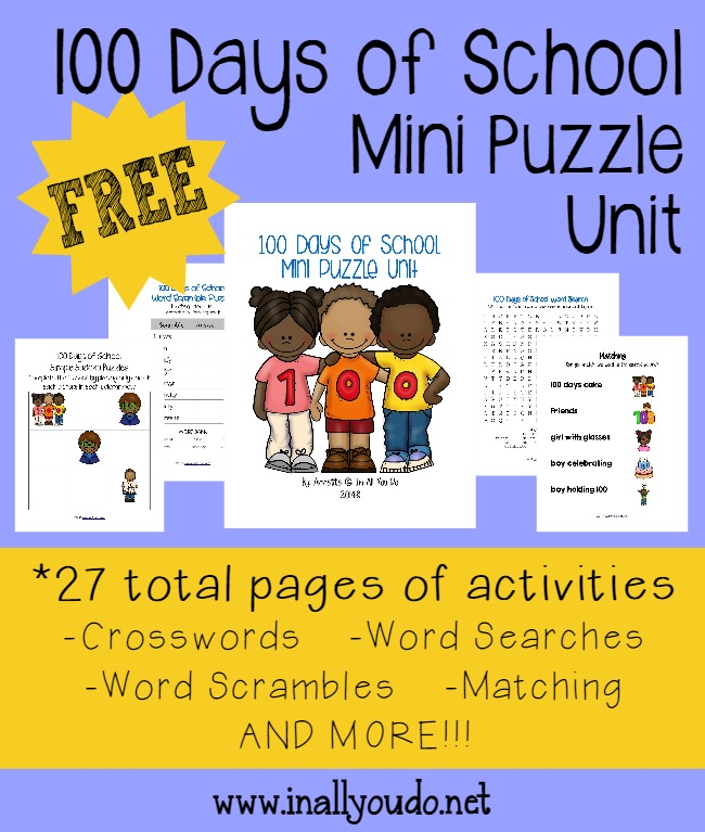 100 Days of School Mini Puzzle Unit {free printable} - In All You Do