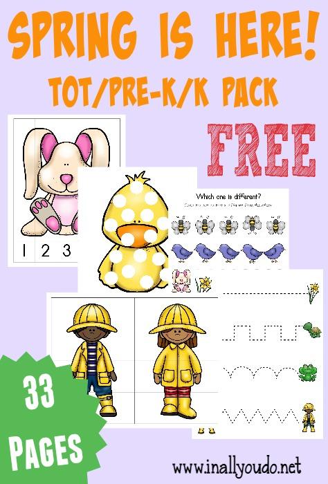 FREE Spring Printable Packs {Tot/PreK  Emergent Readers} - In All