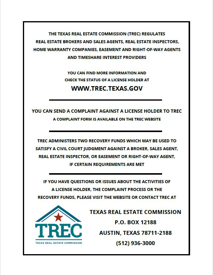 TREC Consumer Protection Notice - The Alcorn Team - consumer form