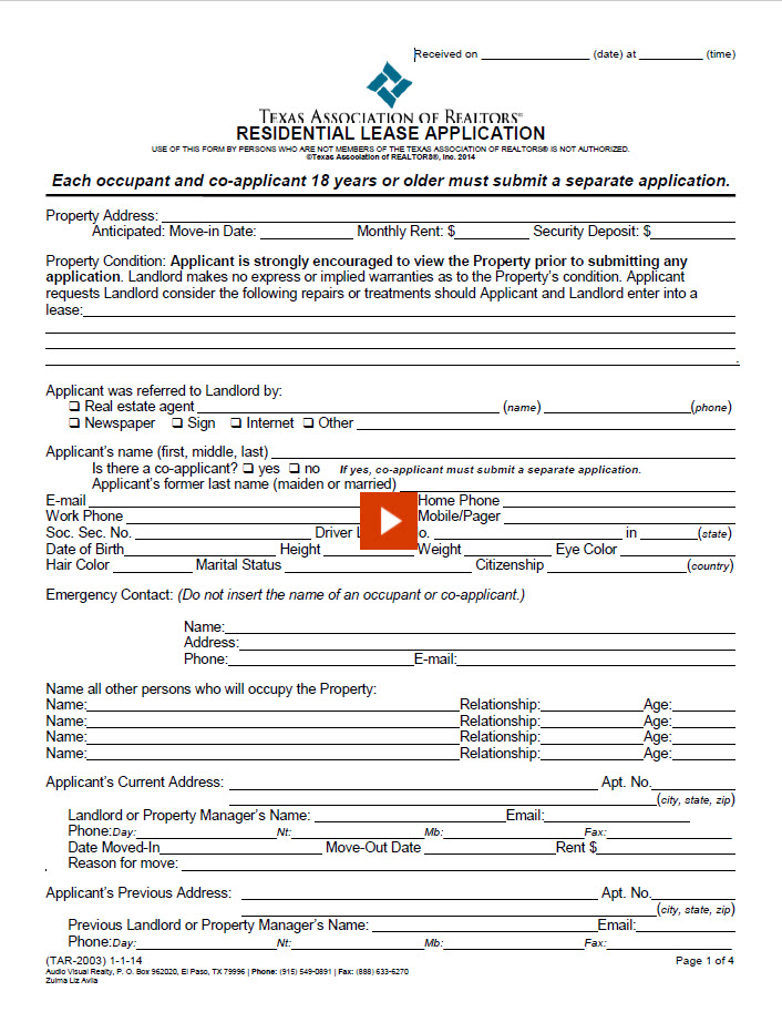 Residential Lease Application, Audio Visual Realty, REALTORS®