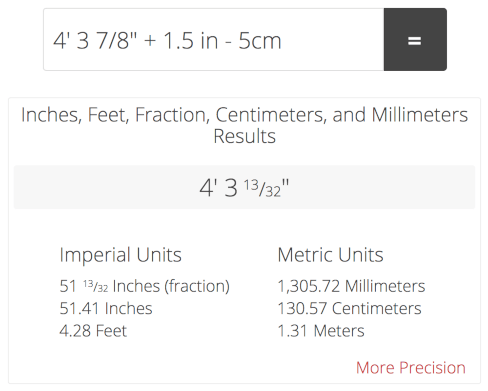 5 5 In Meters Feet And Inches Calculator Add Or Subtract Feet Inches And