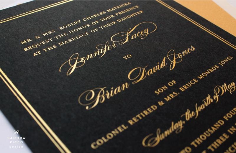 black and white formal wedding invitations
