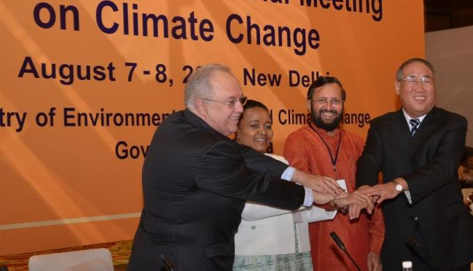 (From left to right) Dr Francisco Gaetani, Deputy Minister of Environment of Brazil; Edna Molewa, Minister of Environmental Affairs of South Africa; Prakash Javadekar, Minister of Environment, Forests and Climate Change of India and Xie Zhenhua, Vice Chairman of NDRC of China attend the 18th BASIC Minesterial meeting on climate change in New Delhi. (Image by Press Information Bureau, Government of India)