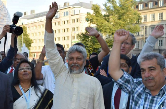 Rajendra Singh leads a water rights march in Stockholm during the 2015 World Water Week (Image by Jal Jan Jodo Abhiyan)