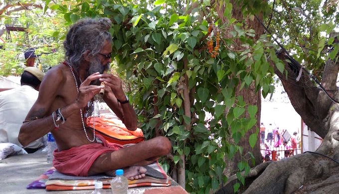 A sadhu plays a captivating tune over the hustle bustle of ritual bathing in the Shipra river.
