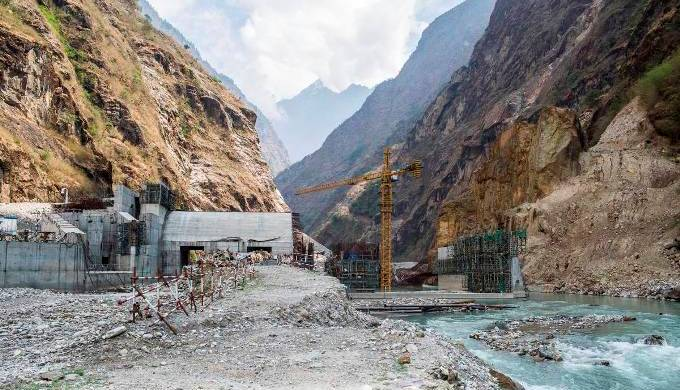 Work is yet to resume at the Upper Tamakoshi dam site after the road was destroyed by last year's earthquake. Image from Dolakha, Nepal. [All photos by Nabin Baral]