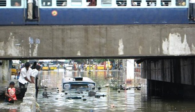 A flooded street in Chennai in 2015. (Photo by The Logical Indian)