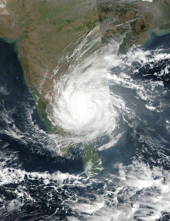 A satellite image of Cyclone Vardah. (Photo by NASA)