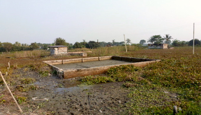 Marshy land is being filled up for property development in the Kolkata wetlands. (Photo by Soumya Sarkar)