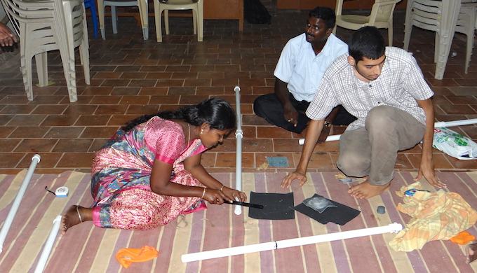 Volunteers gearing for a beach profiling exercise. (Photo by Vivek Coelho)