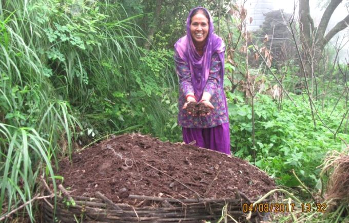 Anita with her compost basket [image by: WAFD]