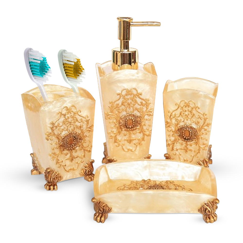 Bathroom Dispenser Set Il 069 Natural Stone Finish Golden Print Soap Dispenser Set