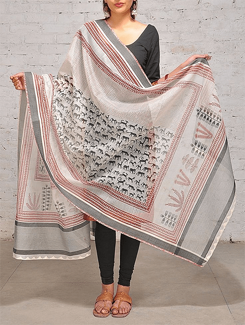 Black White Red Dupatta from Jaypore