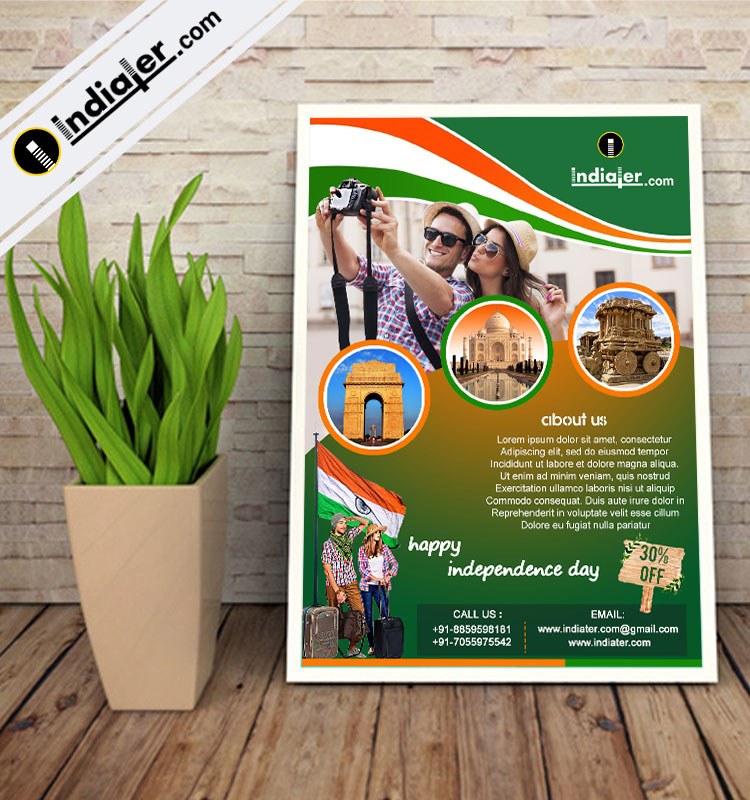 Travel Agency Promotion on Independence Day Flyer - Indiater