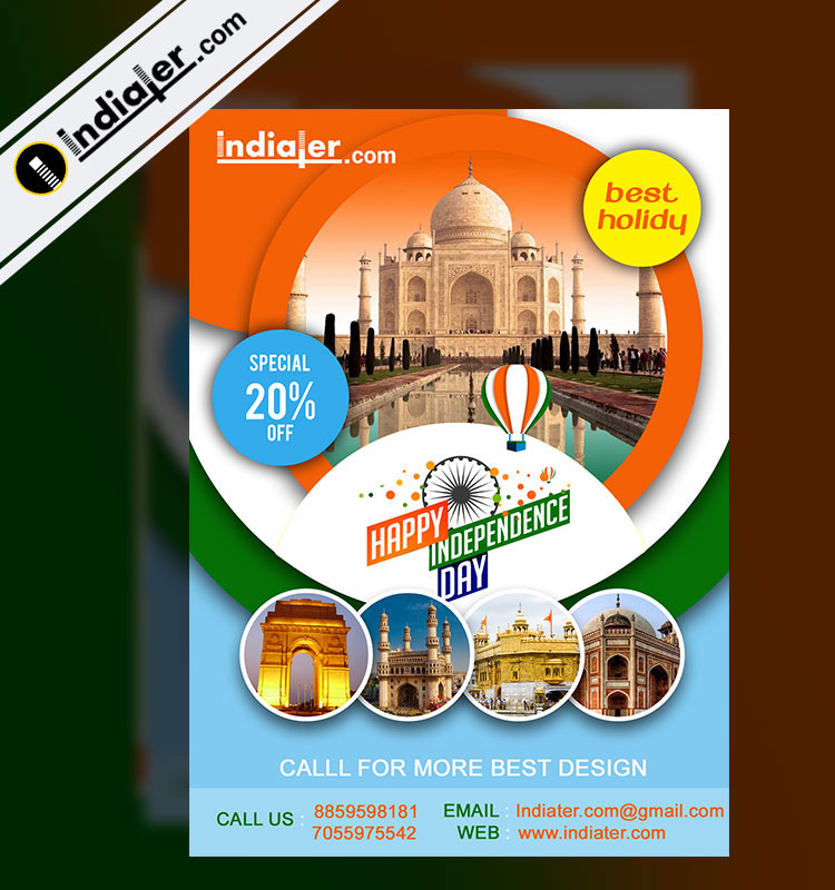 India Visit on Independence Day Travel flyer PSD - Indiater