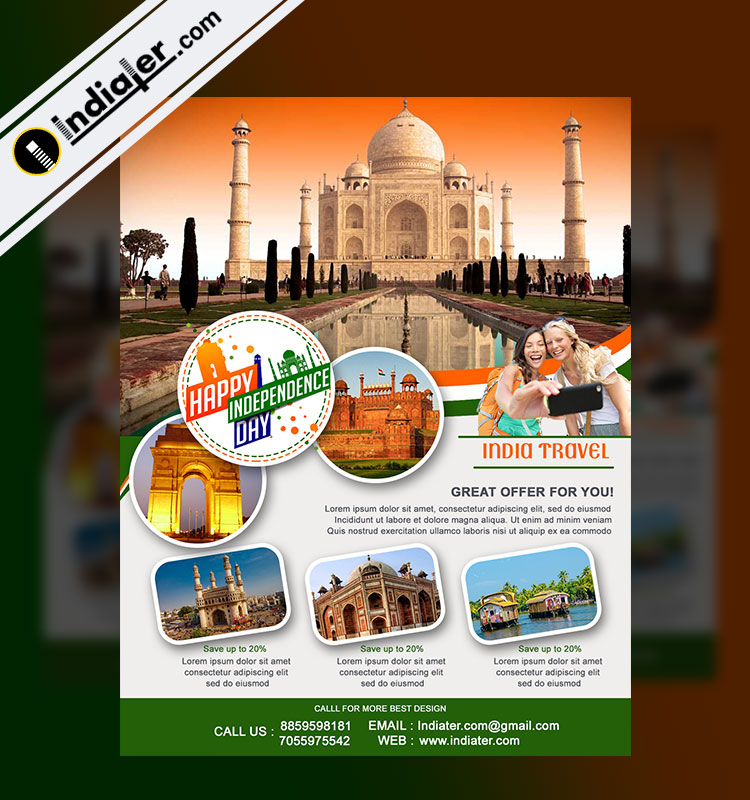 Travel Packages Promotion on Independence Day Flyer - Indiater