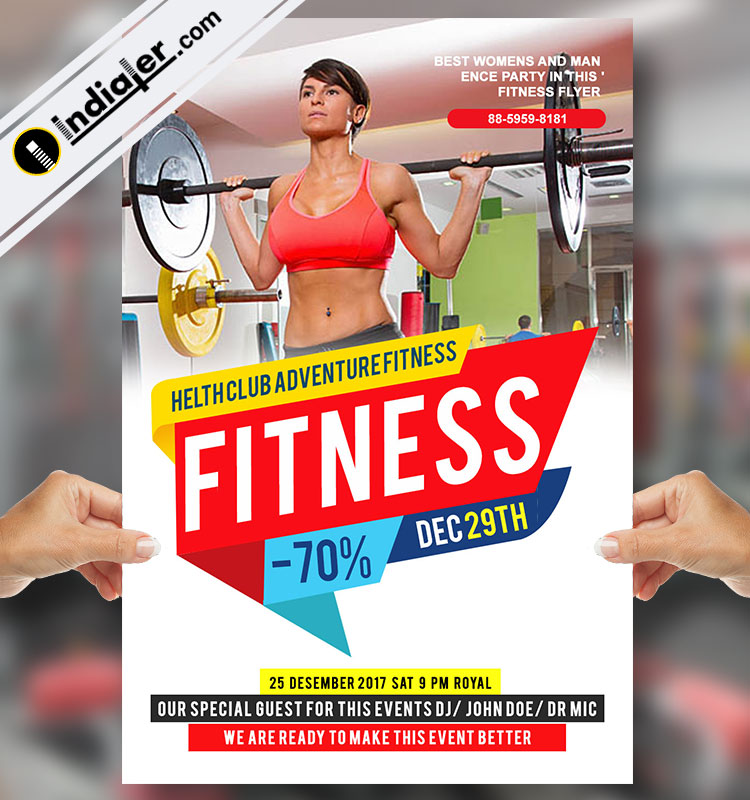 Free Fitness Flyer Template Boundal PSD - Indiater