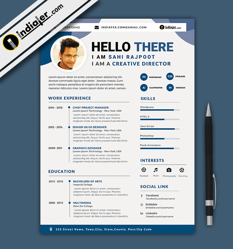 Free Download Editable CV and Resume Format PSD File  Word Docx