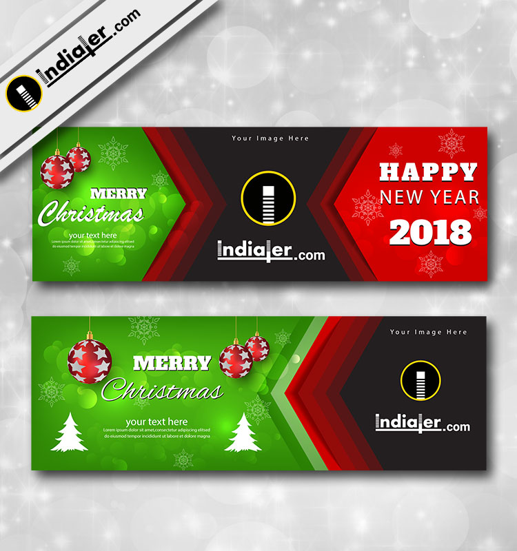 Merry Christmas Banner Template Design For Websites and Social