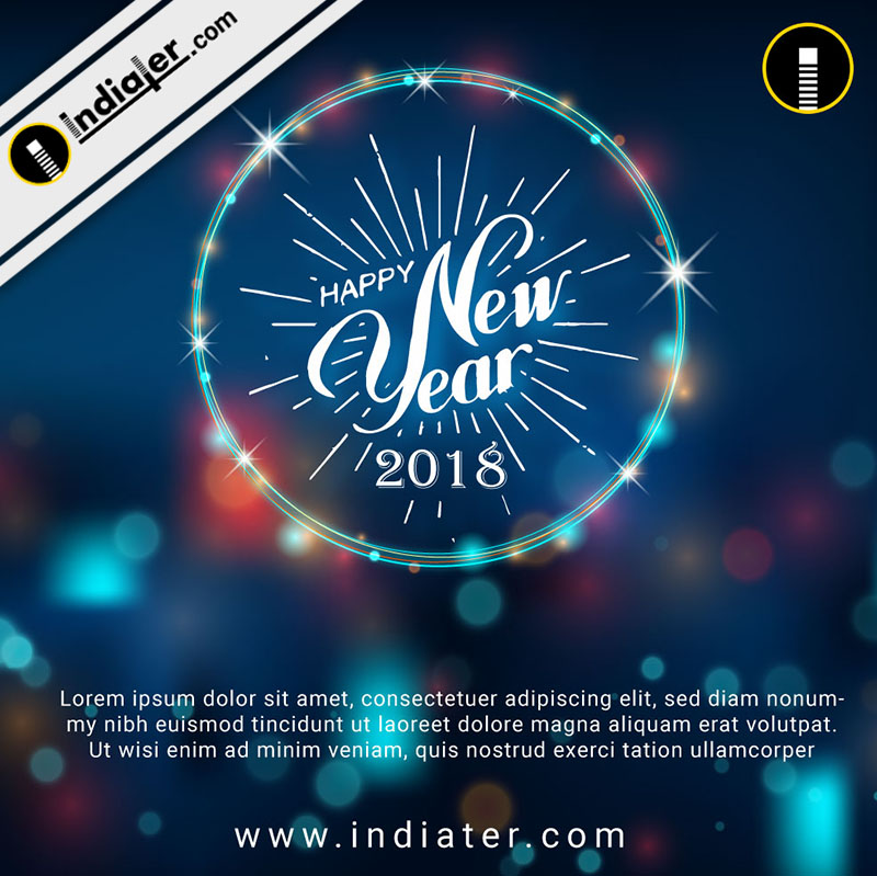 Happy New Year Background with Neontext  Bokeh effect PSD Template
