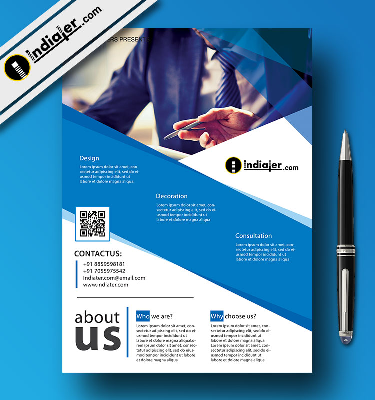 Indiater Blue Corporate Business Flyer Template Free PSD - Indiater
