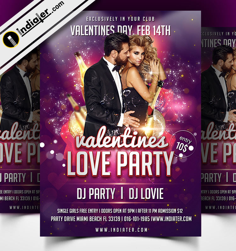 Free PSD Valentines Day Love Party Flyer Template - Indiater