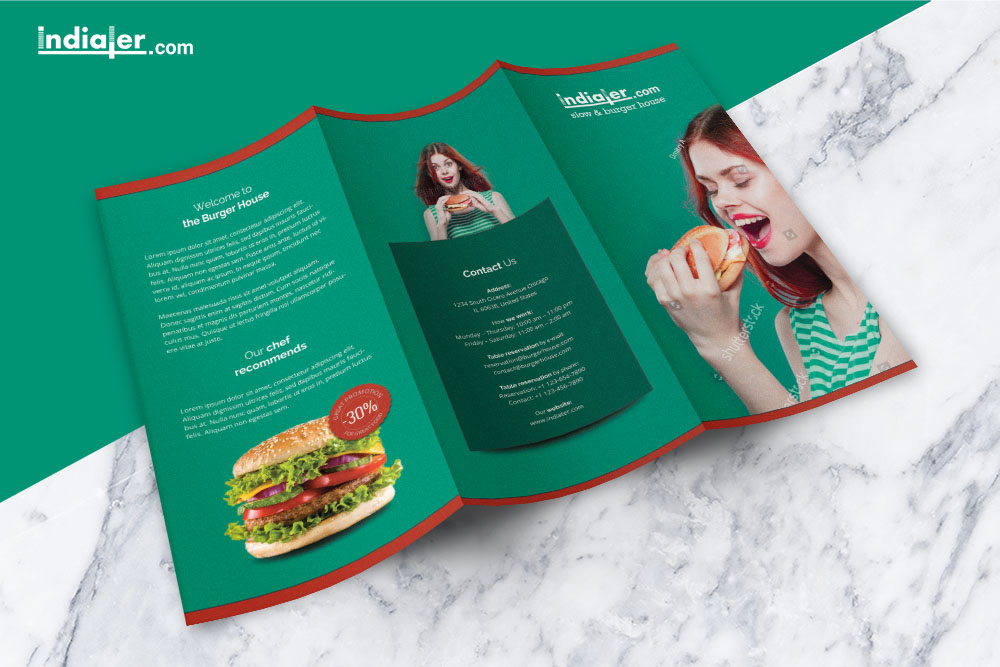 Food Menu tri fold Brochure PSD Free - Indiater