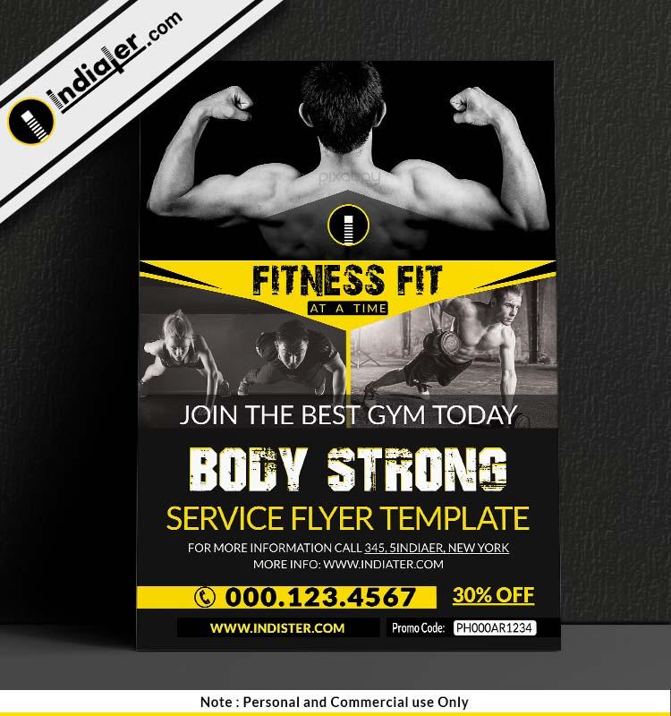 Free Gym  BodyBuilding Flyer Design PSD - Indiater