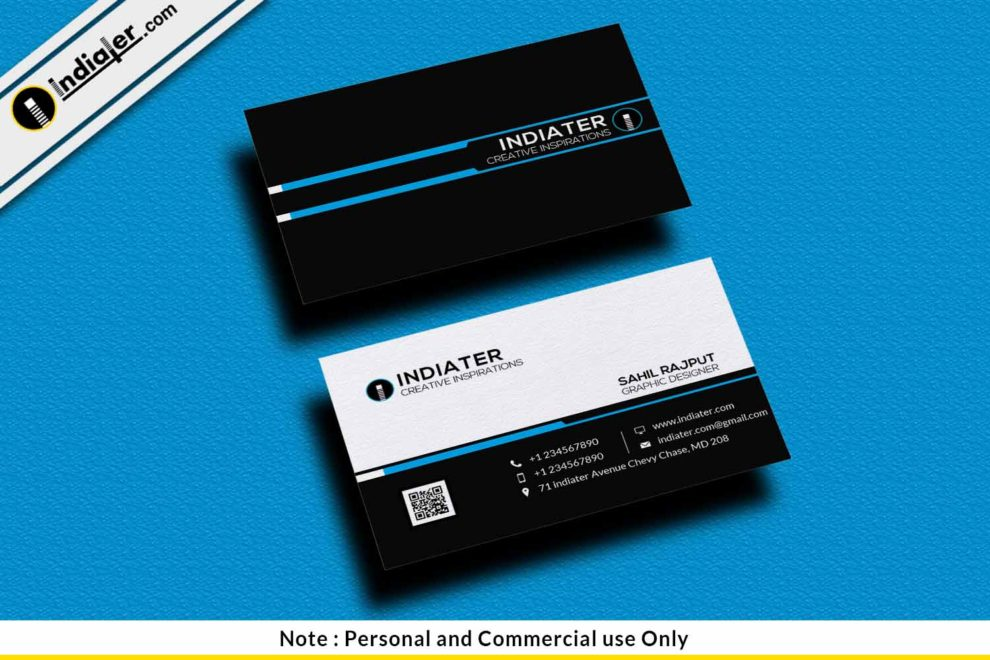 Free Simple Black Visiting Card PSD Template - Indiater