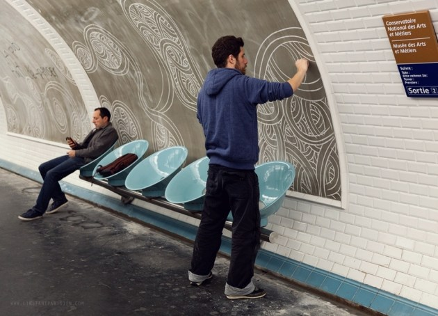 Jordan, a street artist drawing with chalk in the metro stations